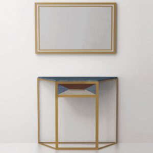 Консольный столик с одним выдвижным ящиком СА01 (латунь, нержавеющая сталь)
