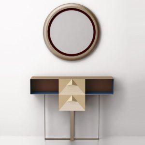 Консольный столик из латуни с двумя выдвижными ящиками СА 02