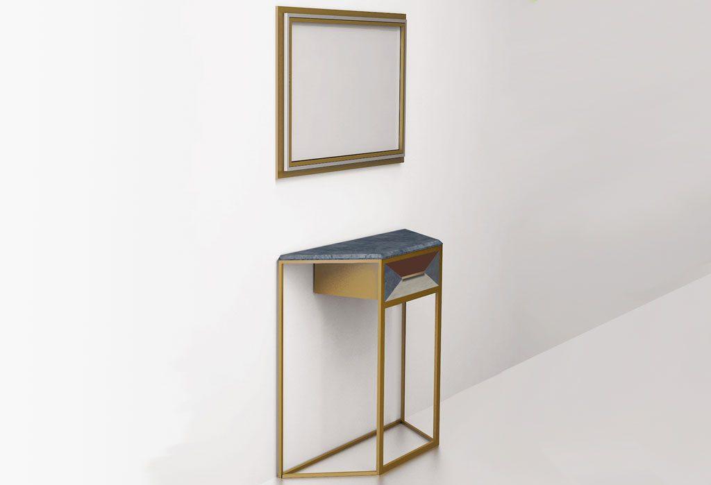 Консольный столик из латуни с одним выдвижным ящиком (вид сбоку)