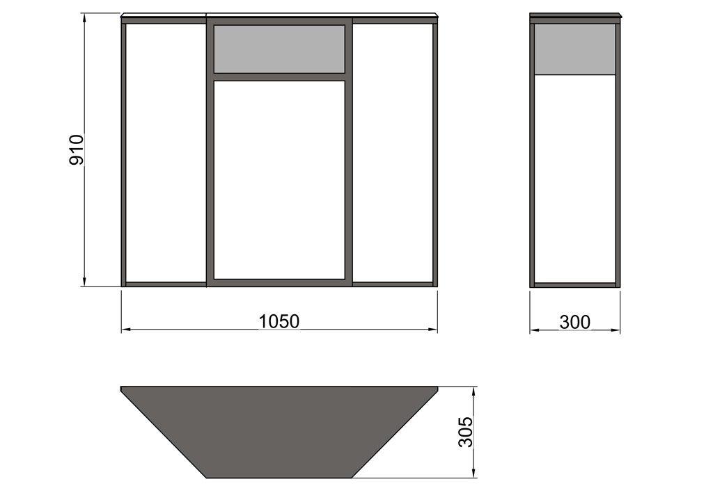 Чертёж металлического консольного столика с одним выдвижным ящиком (CA 01)