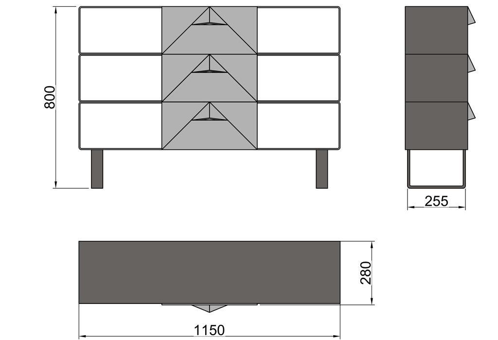 Чертёж консольного столика из металла с тремя выдвижными ящиками (CA 02-1)