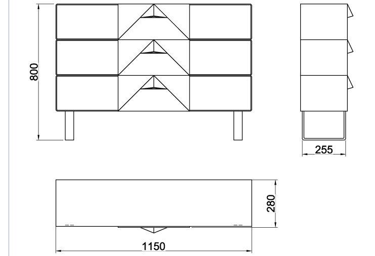 Размеры консольного столика из металла с тремя выдвижными ящиками (CA 02-1)