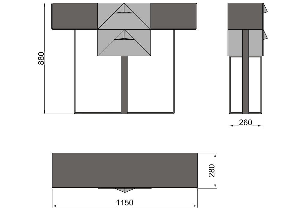 Чертёж консольного столика из металла с двумя выдвижными ящиками (CA 02)