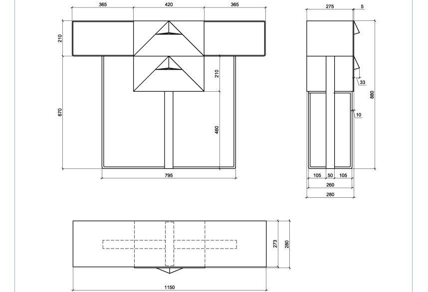 Размеры консольного столика из металла с двумя выдвижными ящиками (CA 02)