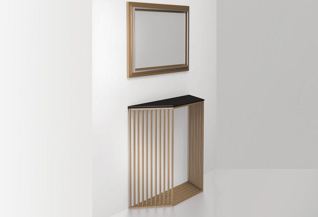 Консольный столик Grille, вид сбоку (латунь, нержавеющая сталь) СА 06