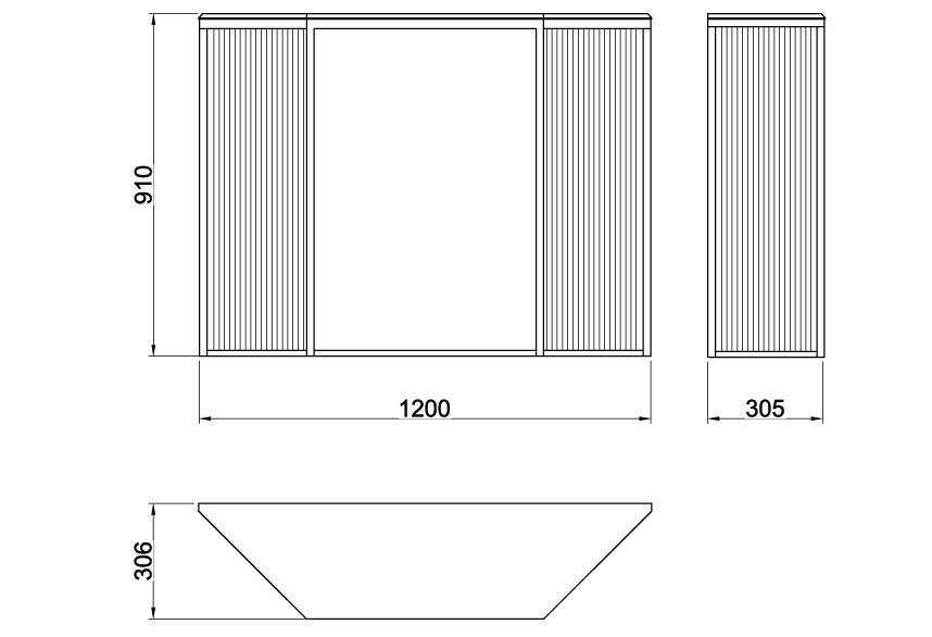 Схема с размерами консольного столика Grille из металла, СА 06