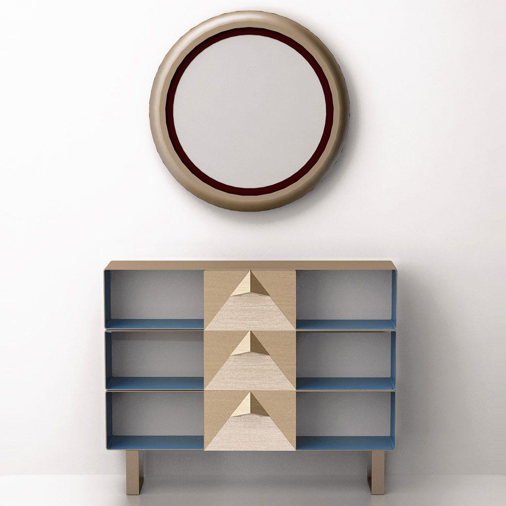 Консольный столик с тремя выдвижными ящиками (латунь, нержавеющая сталь)