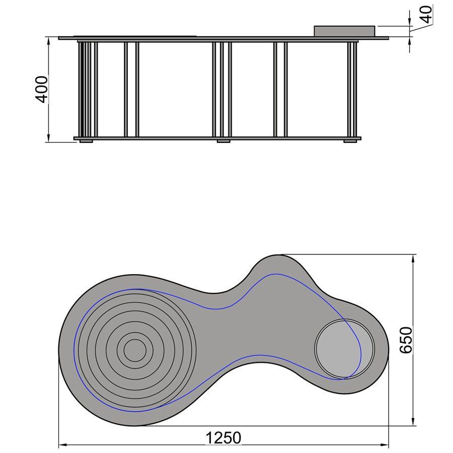 Кофейный столик «Круги на воде» (CT 12), размеры