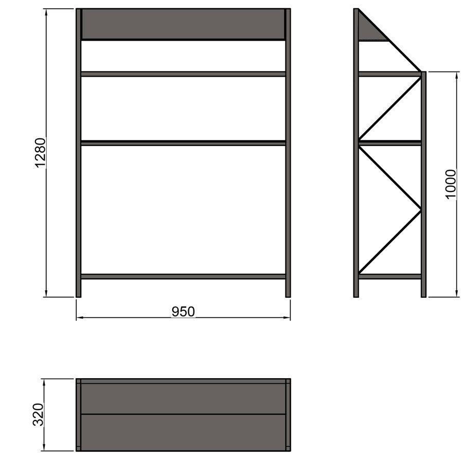 Консольный столик с полками «Основы», CA 07, размеры