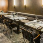BRASS TRIMMED MARBLE TABLES FOR MOLLUSCA RESTAURANT